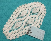 Vintage 12 x 7 inch White hand crochet doily for crafts, housewares, kitchen, dining, home decor by MarelenesAttic