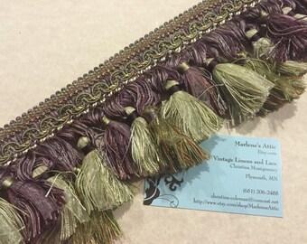 1 yard of 4 inch Green and Purple Loop Tassel Fringe Trim for drapery, curtains, housewares, crafts, home decor by MarlenesAttic - 3KK