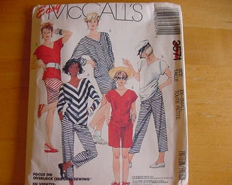 Vintage 1980s McCalls Pattern 3571. Misses' Pants, Skirt, Top and Shorts, Size Ex-Small, 6-8, Bust 30 1/2-31 1/2, Stretch Knits Only