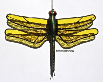 Stained Glass DRAGONFLY Suncatcher, Lemon Yellow Wings & Hand-Cast Metal Body, USA Made
