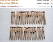 ON SALE 30 Vintage Wooden Clothespins, Round Head Wood Clothespins