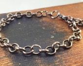 Rolo Chain Bracelet, Charm Bracelet, Antique Finish Bracelet, Gunmetal Silver Bracelet, Chain, Kyleemae Designs