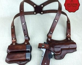 Handmade 1911 Shoulder Holster with Magazine Carrier Custom sizes available, shoulder Rig
