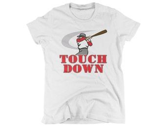 baseball touchdown shirt funny sports t-shirt for women mens kids boys girls go team humorous tee college football small medium large xl 2xl