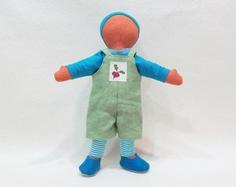 "Little doll overalls outfit, for 11"" Doll, gender neutral doll clothes, handmade doll clothes, ready to ship"