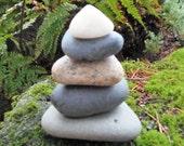 Alaska Beach Stone Stack 5 Natural Triangle Sea Rocks Zen Stones Zen Garden Sculpture Alter Yoga Meditation Gift Home Decor Balance Peace