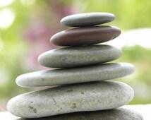 Small Oblong Beach Stone Stack 6 Natural Ocean Rocks Balance Sea Zen Garden Sculpture Fountain Yoga Meditation Gift Balance Home Decor Sea
