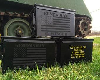 SET OF 9 BLACK Groomsmen gifts for men personalized ammo box personalized wedding gift for men gift for gift for him engraved ammo cans