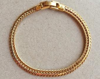 90s vintage gold tone metal herringbone bracelet