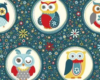 Adorn it- Nested Owls- Polka Dot Navy