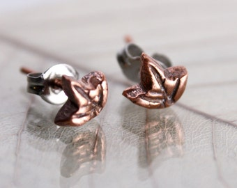 Copper Stud Earrings Ivy Leaf - Tiny Forest Fairy Charms