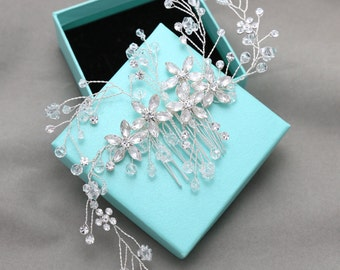 Silver Hair Comb, Crystal,l Bridal Hair Piece, Wedding Jewelry, Rhinestone Silver Hair Combs, Flower Headpiece, Bridal Comb