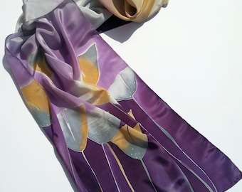 Silk scarf with delicate flowers inspired by maidenhair tree. Hand painted. Purple, silver, light bronze.