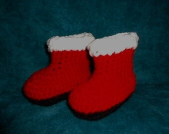 Santa Boots Christmas Holiday Booties Shoes Handmade Crochet