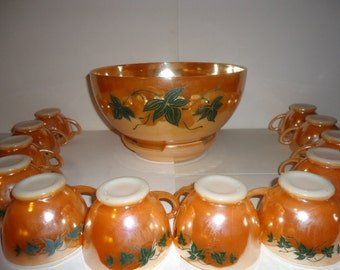 Anchor Hocking Peach Luster with Ivy Lusterware Punch Bowl 14 Piece Set 1950's Vintage