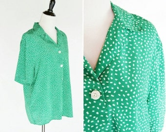 SALE Vintage 1980's Green Short Sleeve Blouse - 80's Button up Casual Green and white Top - Ladies Size Medium to Large