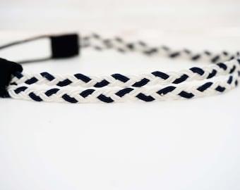 Navy and White Double Strand Braided Headband