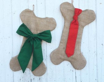 Set of 2--His & Hers Burlap Dog Bone Christmas Stockings With Bow and Tie- Puppy/Dog Stocking-Choose Your Colors-Rustic/Shabby Chic//Natural
