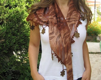 Fringe Scarf/pom pom trimmed triangle winter scarf/lace Turkish Scarf/Cowl/Women's Fashion Accessories Gift Ideas Her green cinnamon brown