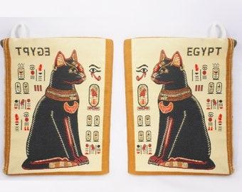 Boho Coin Purse/ Egyptian Purse/ Cat Wallet/ Sphinx Cat/ African Wallet/ Egyptian Print/ Cat Coin Purse/ African Purse/ African Bag/ Retro