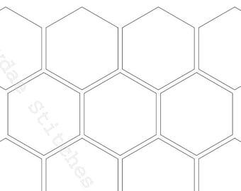 Hexagon Templates PDF in 12 Sizes