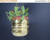 ON SALE Vintage Brass Hanging Planter // Small Round Gold Metal Hanging Flower Pot Ribbed Design Worn Tarnished Mid Century Modern Home Deco
