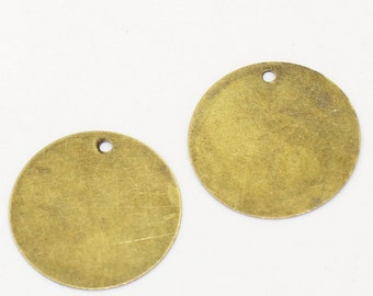 20pc Antique Bronze Round Blank Stamping Tags - 20mm - Jewelry Finding, Jewelry Making Supplies, Necklace Finding, Ships from USA - C61