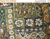 40% OFF Vintage 70s Cotton Home Decor Fabric Screen Print Design by Kenmill Orange Green Brown - 1 Yard - CFL0167