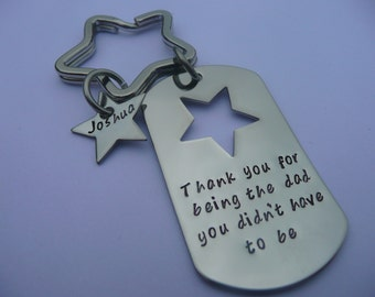 Hand stamped dog tag keyring, father's day, step dad, personalise