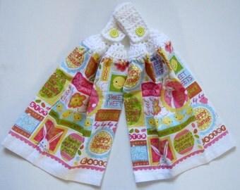 Sweet Tweets Easter Crochet Top Kitchen Hand Towel Set of 2
