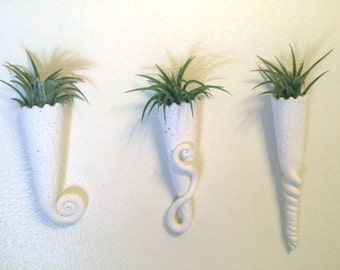 Whimsical Wall Mounted or Magnetic Mini Air Plant Planter White, Swirls, Twisted, Textured