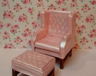 PRICE REDUCED! 1/12th Scale Dollhouse Miniature Wing Back Chair and Ottoman Set in pearl pink