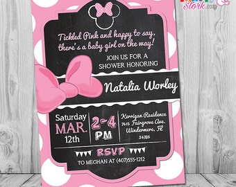 Minnie Mouse Baby Shower Invitation, Pink and Black Minnie Mouse Baby Shower Invites, Baby Shower Invitations for a Girl