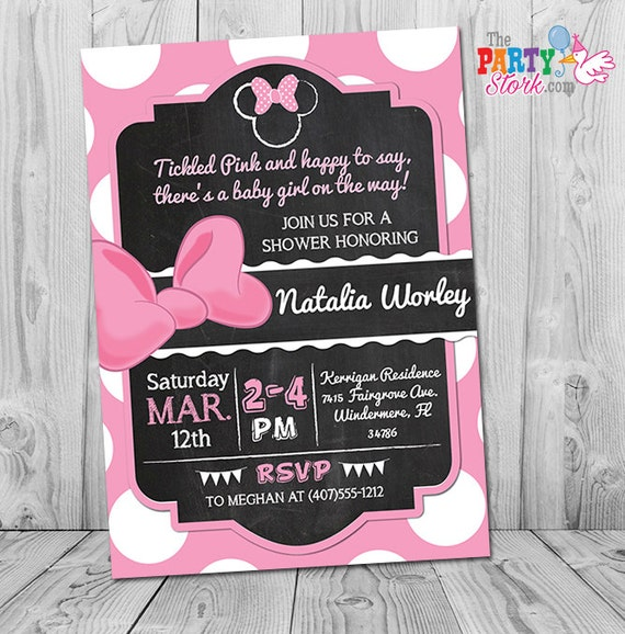 Minnie Mouse Baby Shower Invitation Pink And Black Minnie