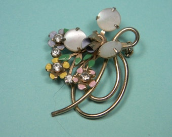 Mother Of Pearl, Rhinestone and Enamel Flower Brooch or Pin, Petite