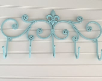 Decorative Wall Hook/ Shabby Chic Decor/ Fleur de Lis/ Coat Rack/ Bathroom Hook / Towel Hook / Wall Hook /Aqua / Dog Leash Holder