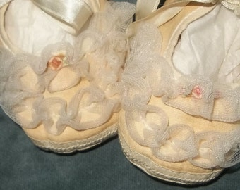 Vintage Newborn Baby Shoes, Tulle Ruffles, Ribbons, and Rosettes