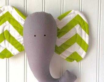 SALE!  Elephant head, nursery animal, chartreuse green elephant wall decor,faux elephant head, nursery wall art by whimsysweetwhimsy, ready