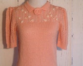 Vintage 70s knit top - pink and pearls - lolita 1950s style