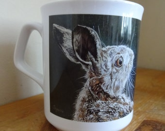 British Hare Mug - beautifully shaped white ceramic mug printed with original hare art - Fantastic gift set with matching hare coaster