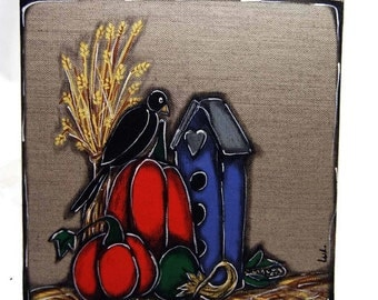 Black crow and pumpkins painted on canvas - Autumn painting - Pumpkin painting