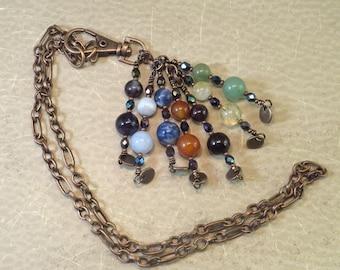 7 Chakra Necklace / Clip-on Charm - Reiki Jewelry - Root Sacral Solar Plexus Heart Throat Brow Third Eye Crown Chakra Balance Accessory