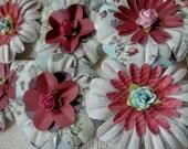 PAPER FLOWERS set/3 Robin's Egg Blue Tea Rose Burgundy Purple Floral Paper Rose