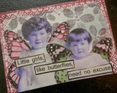 "ACEO ATC one-of-a-kind Collage and Ink ""Little Girls, Like Butterflies"" Artist Trading Card"