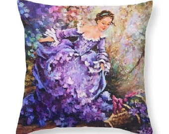 purple home decor, purple pillow, paris accent, french accent, rococo style decor, decorative art pillow, french girl,  accent toss pillow,