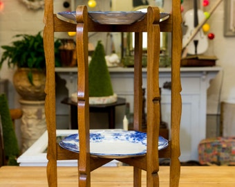 Unusual 2 tier cake stand, arts and crafts, wooden, plates optional, tea room, tea party, wedding