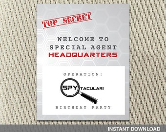 16x20 Poster - Secret Agent Spy - Mission Impossible - Happy Birthday - Instant Download - DIY Digital Decorations