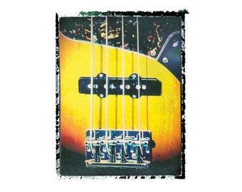 Bass guitar art print / music gift / rock n roll art / music room decor / guitar gift / man cave art