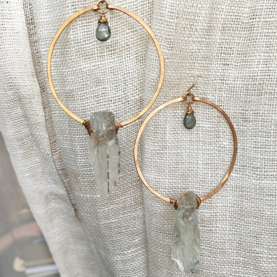 Monolith Earrings in Bronze, Prasiolite & moss aquamarine