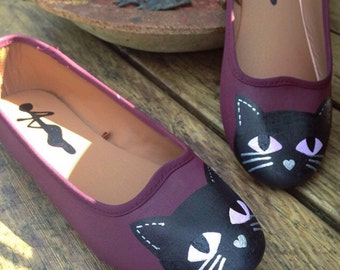 Maroon Kitty Cat Shoes